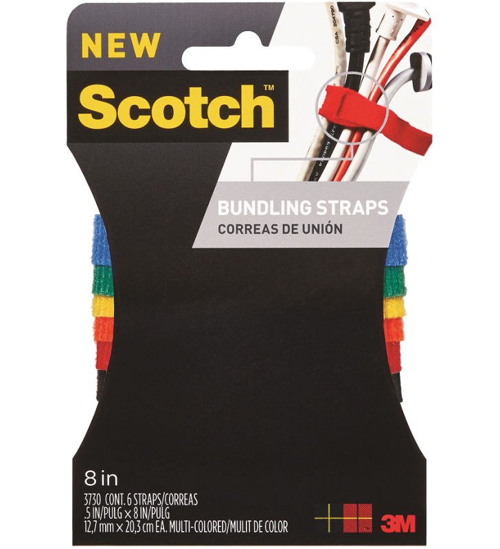 "3M Scotch® 3730 Multi-color Bundling Straps 1/2"" x 8"""