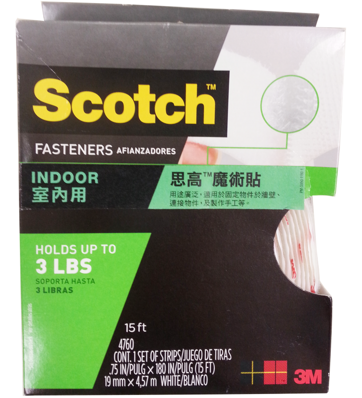 "3M Scotch® 4760 Indoor Fastener 3/4"" x 15' White"