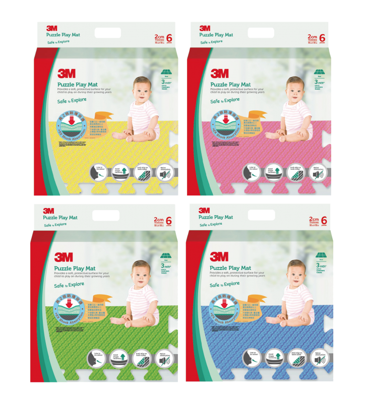 3M™ Puzzle Play Mat - 4 Pack Set (Green,Yellow,Blue,Pink)