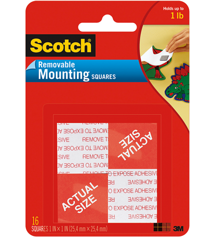 "3M Scotch® 108 Removable Mounting Squares - 1"" x 1"""