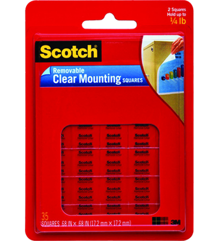"3M Scotch® 859 Removable Mounting Squares(Clear) - 0.68"" x 0.68"""