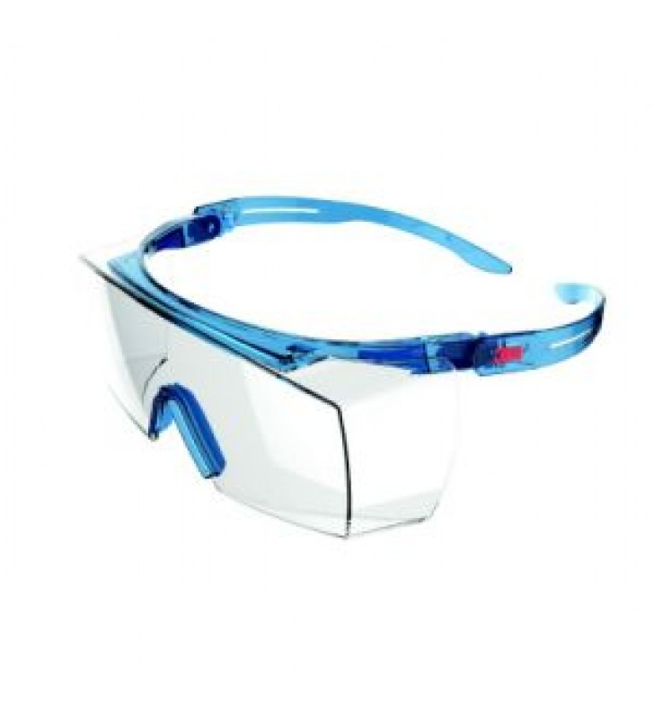 3M™ SecureFit™ SF3701ASGAF-BLU, Alternate Fit, Blue, Scotchgard™ Anti-Fog Coating, Clear OTG AF-AS lens