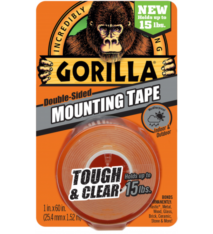 "Gorilla Touch & Clear Mounting Tape - Black (1"" x 60"")"
