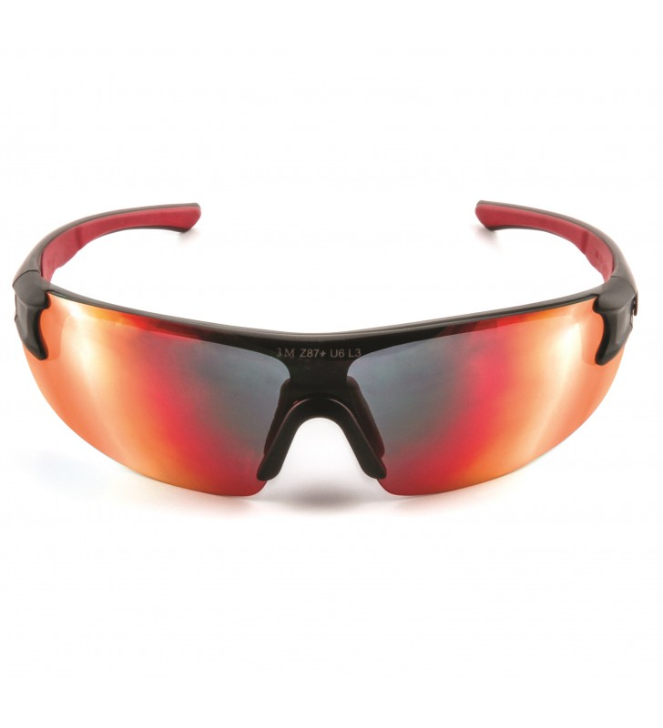 3M™ Safety Sunwear 3M SS1729AS-B, Red Black Frame, Red Mirror AS Lens