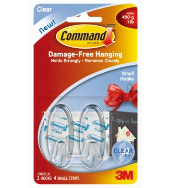 3M Command™ Clear Small Hooks 17092CLR