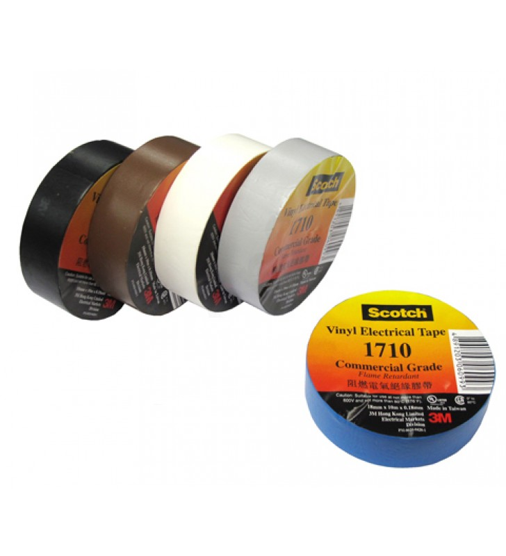 3M 1710 Vinyl Electrical Tape - White 18mm X 10m