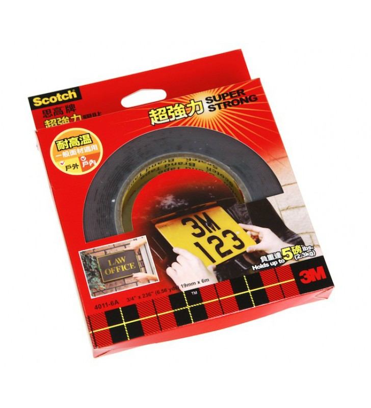 "3M Scotch® 4011-6A Super Strong Exterior Mounting Tape - 3/4"" x 236"""