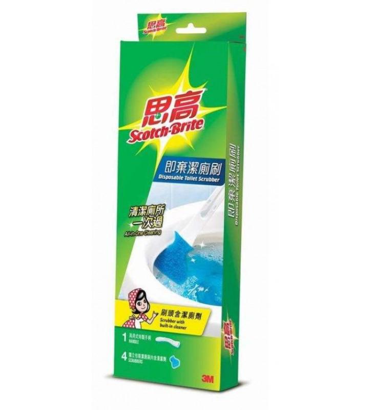 3M Scotch-brite Disposable Toilet Scrubber (1 handle 4 scrubbers)