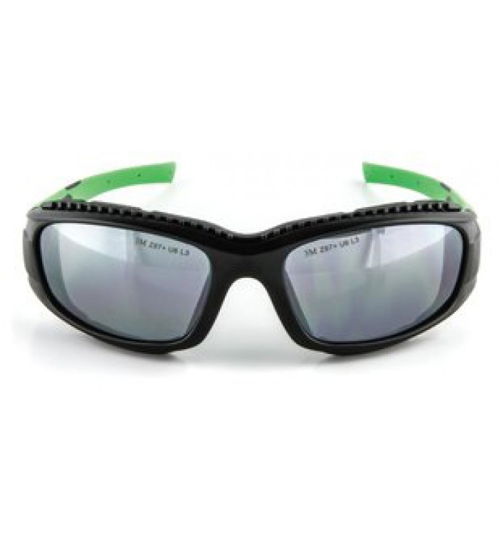3M™ Safety Sunwear SS1514AS-B, Black/Green Frame, Silver Mirror AS Lens