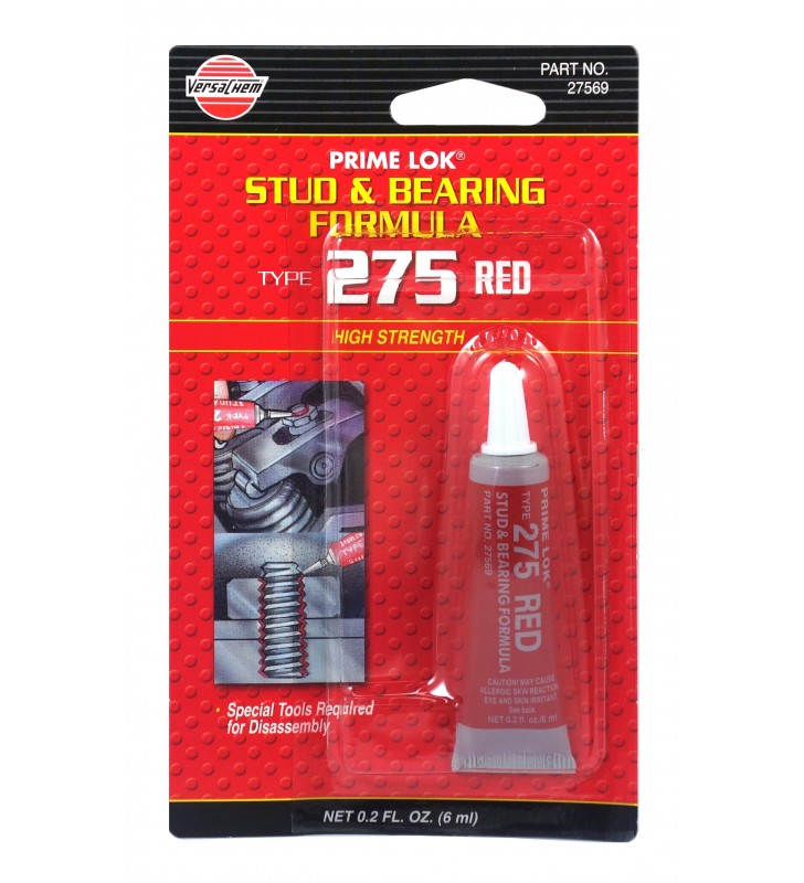 VersaChem 27569 Prime Lok Stud & Bearing Formula Type 275 High strength Red 6ml
